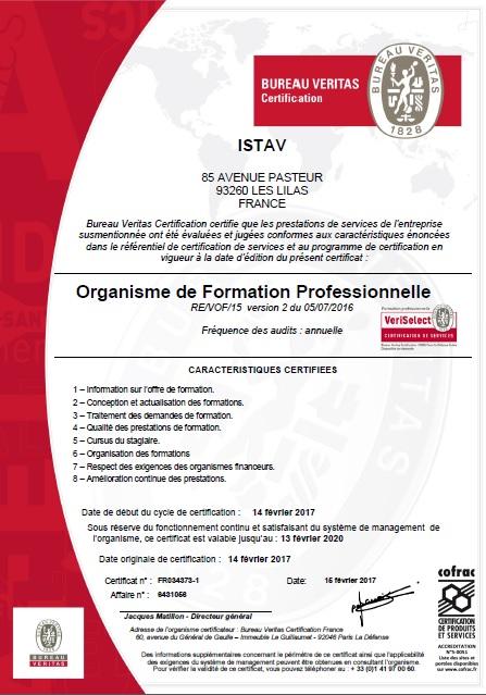 L'ISTAV est certifié pour la qualité de ses formations
